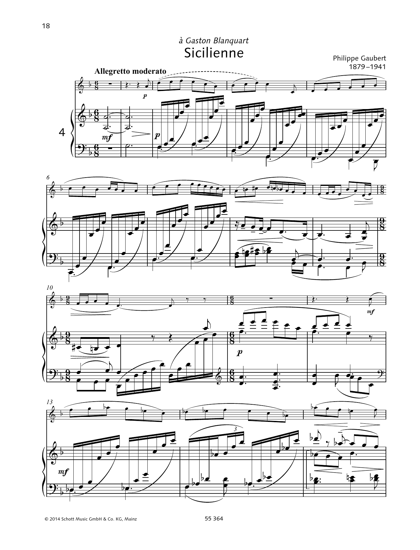Philippe Gaubert Sicilienne sheet music preview music notes and score for Woodwind Solo including 7 page(s)