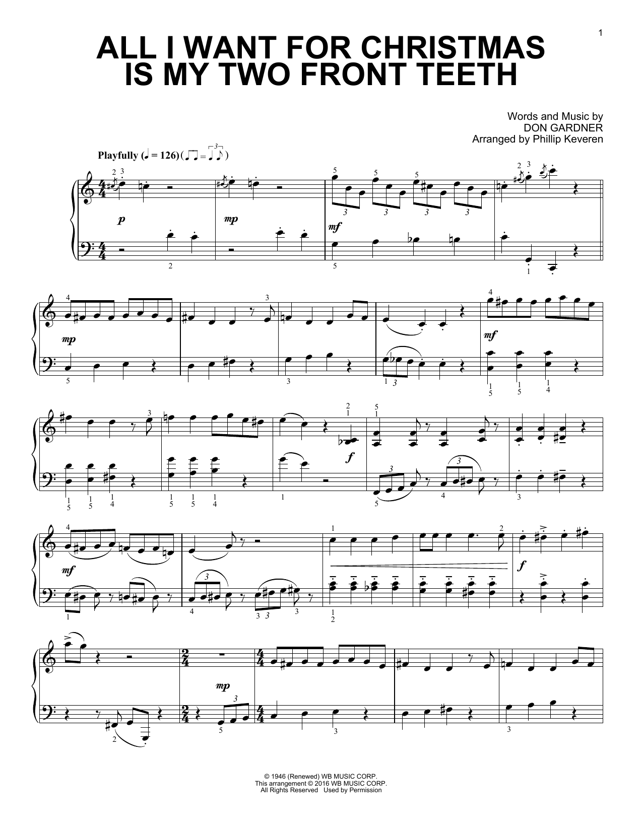 Download Phillip Keveren 'All I Want For Christmas Is My Two Front Teeth' Digital Sheet Music Notes & Chords and start playing in minutes