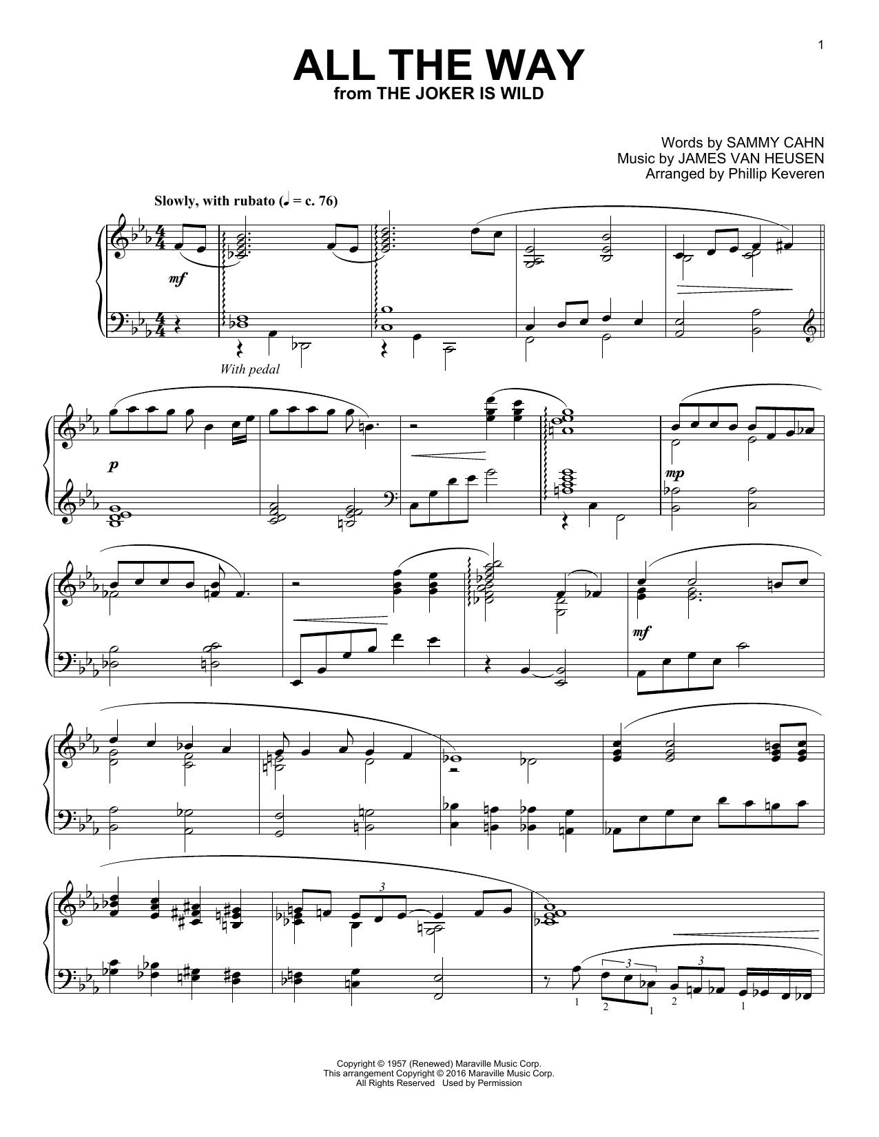 Download Phillip Keveren 'All The Way' Digital Sheet Music Notes & Chords and start playing in minutes