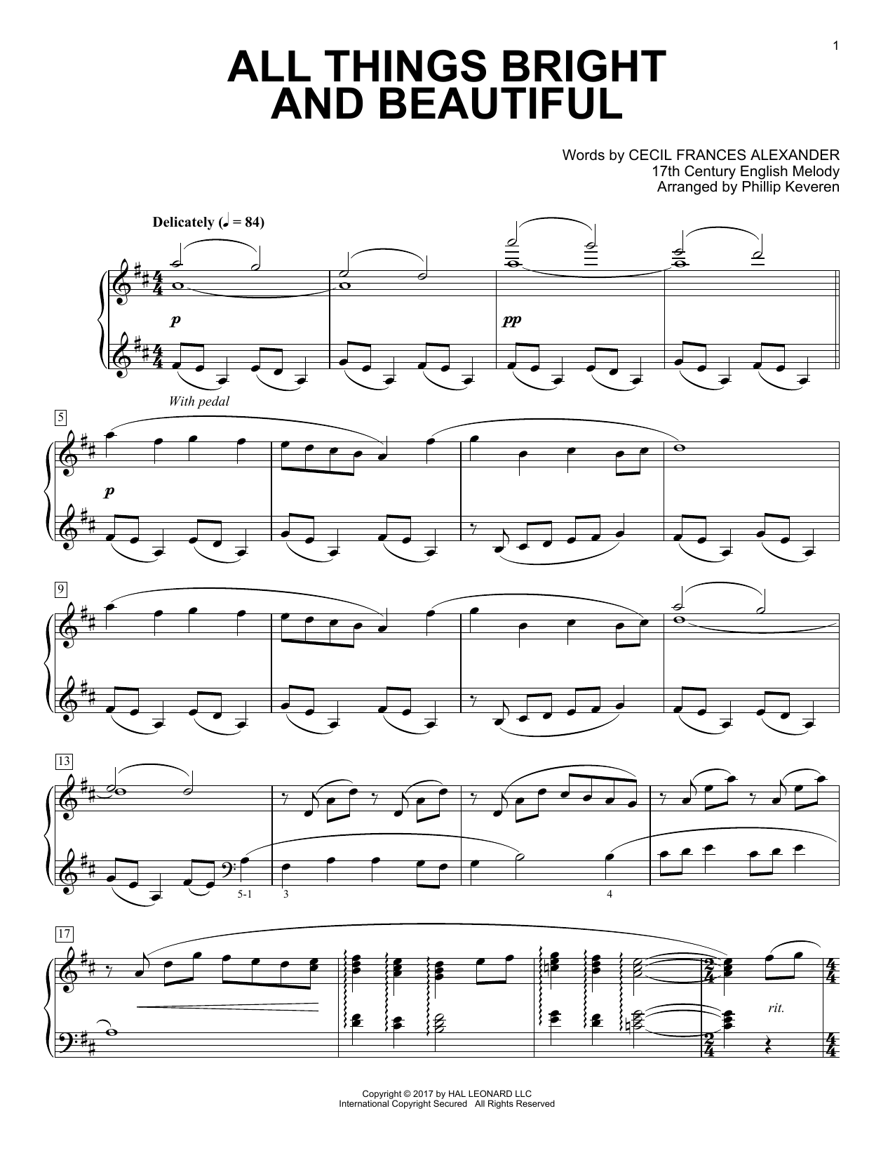 Download Phillip Keveren 'All Things Bright And Beautiful' Digital Sheet Music Notes & Chords and start playing in minutes