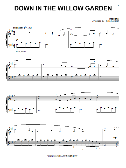 Phillip Keveren Down In The Willow Garden sheet music preview music notes and score for Piano including 3 page(s)