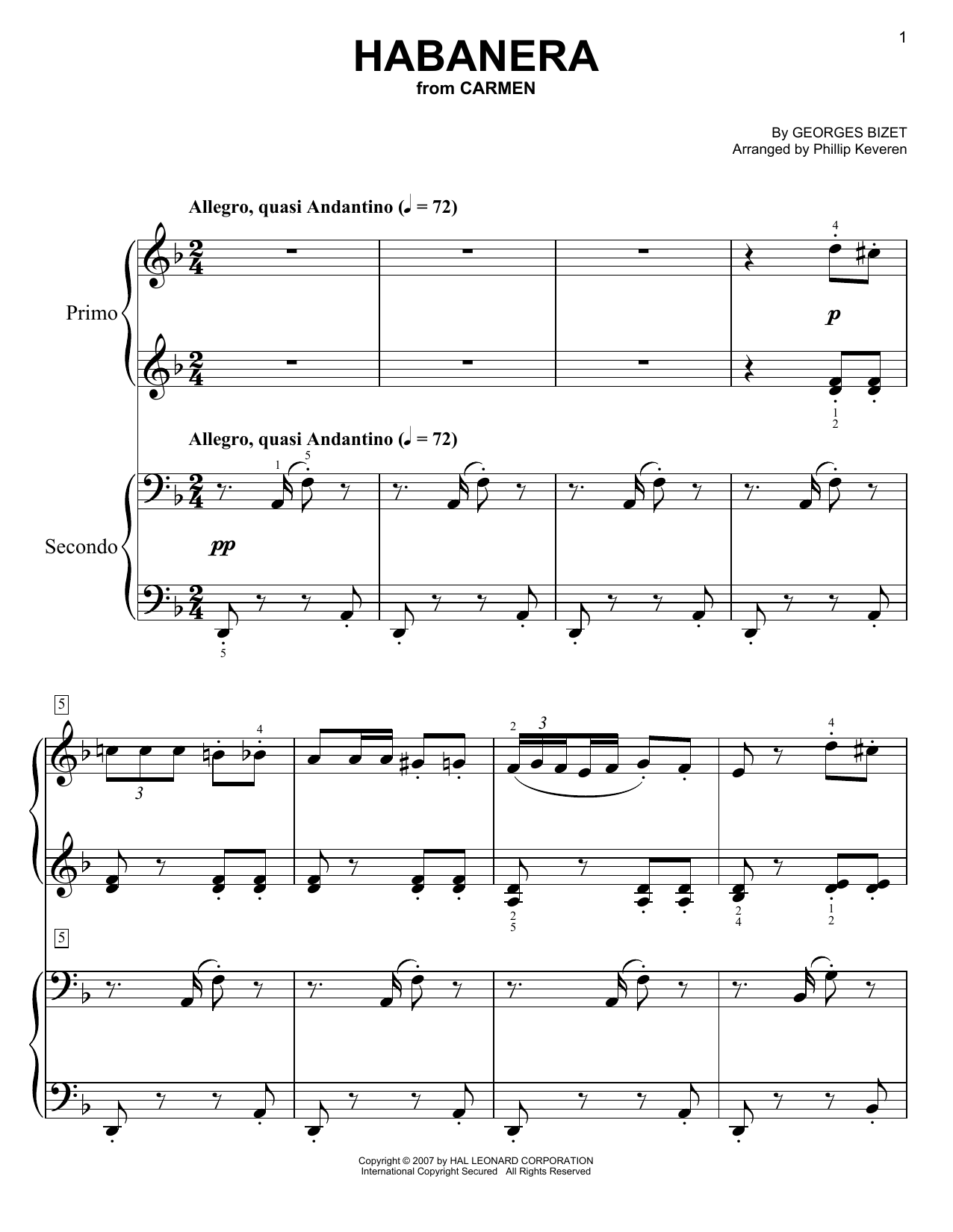 Download Phillip Keveren 'Habanera' Digital Sheet Music Notes & Chords and start playing in minutes