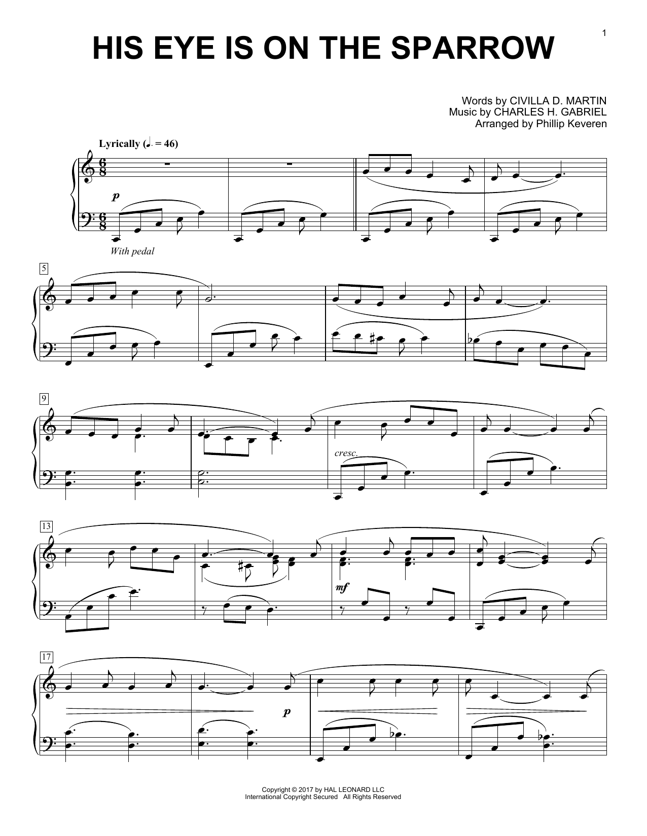 Download Phillip Keveren 'His Eye Is On The Sparrow' Digital Sheet Music Notes & Chords and start playing in minutes