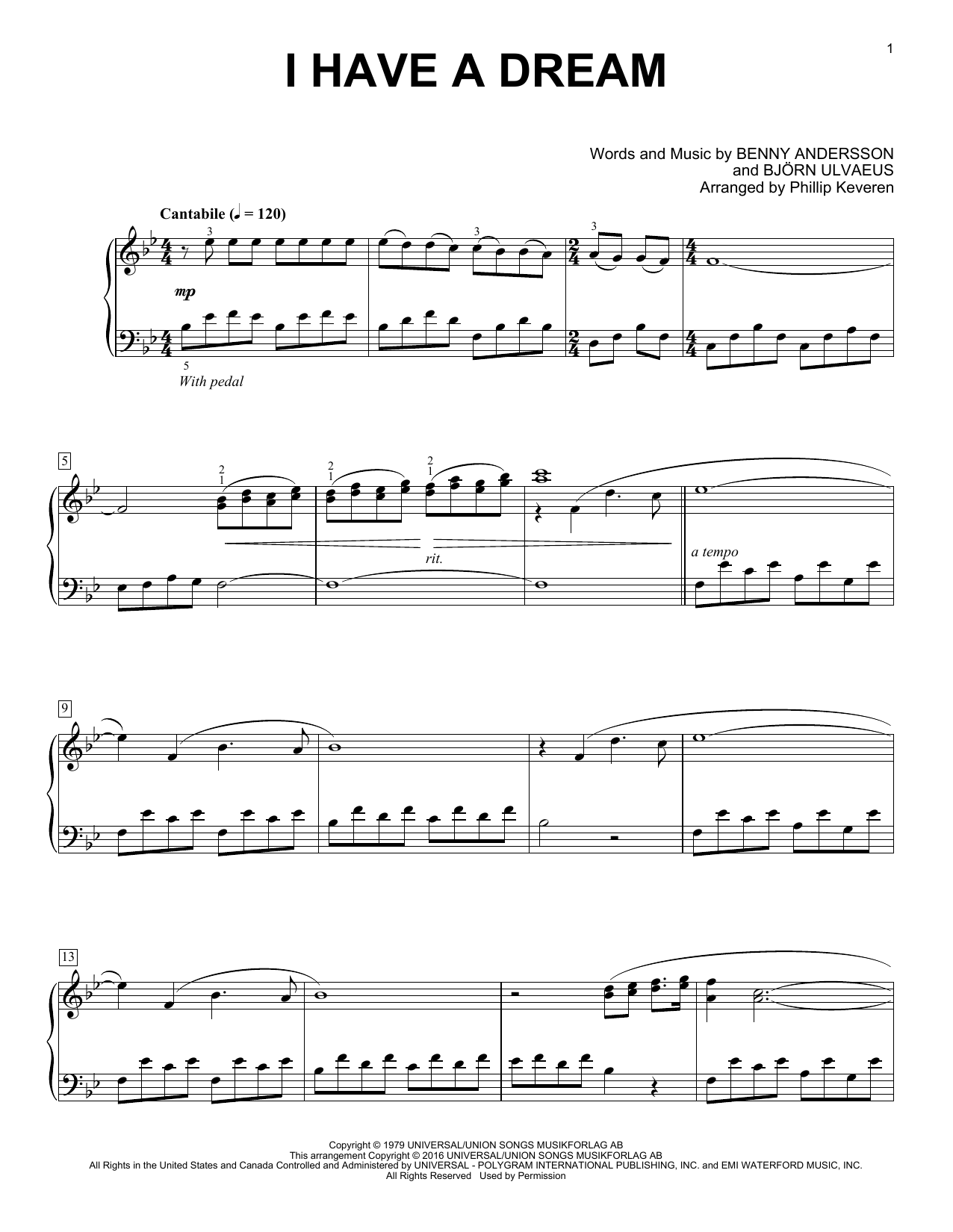 Download Phillip Keveren 'I Have A Dream' Digital Sheet Music Notes & Chords and start playing in minutes