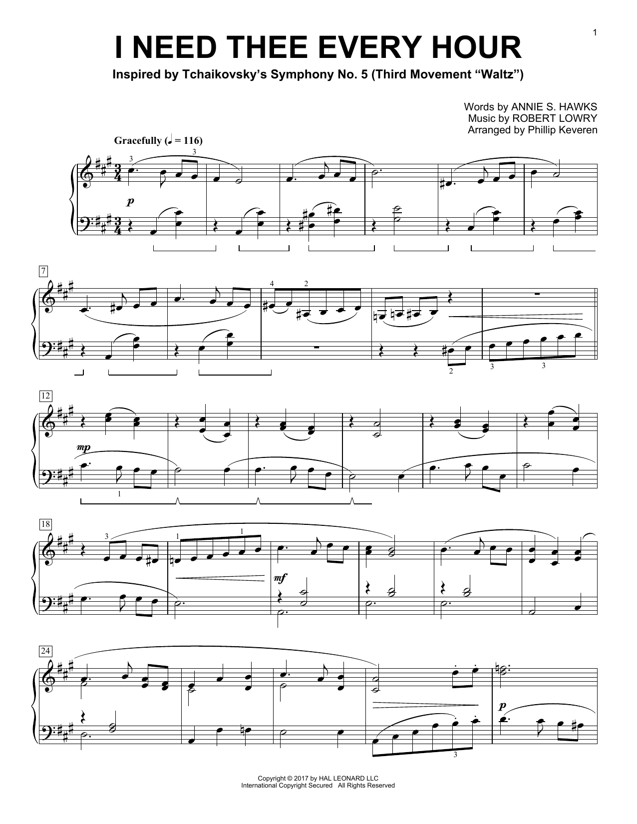 Download Phillip Keveren 'I Need Thee Every Hour' Digital Sheet Music Notes & Chords and start playing in minutes