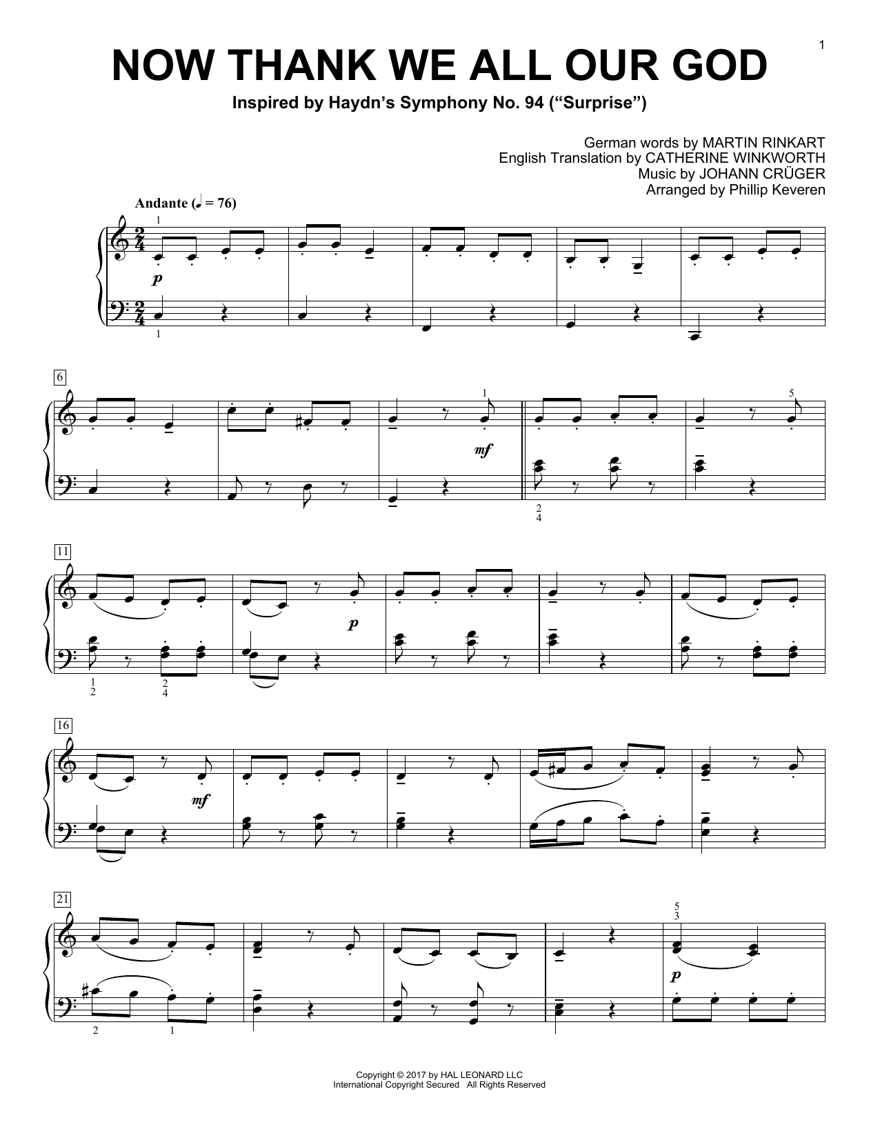 Phillip Keveren Now Thank We All Our God sheet music notes and chords