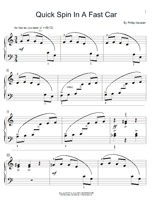 Phillip Keveren Quick Spin In A Fast Car sheet music preview music notes and score for Easy Piano including 4 page(s)