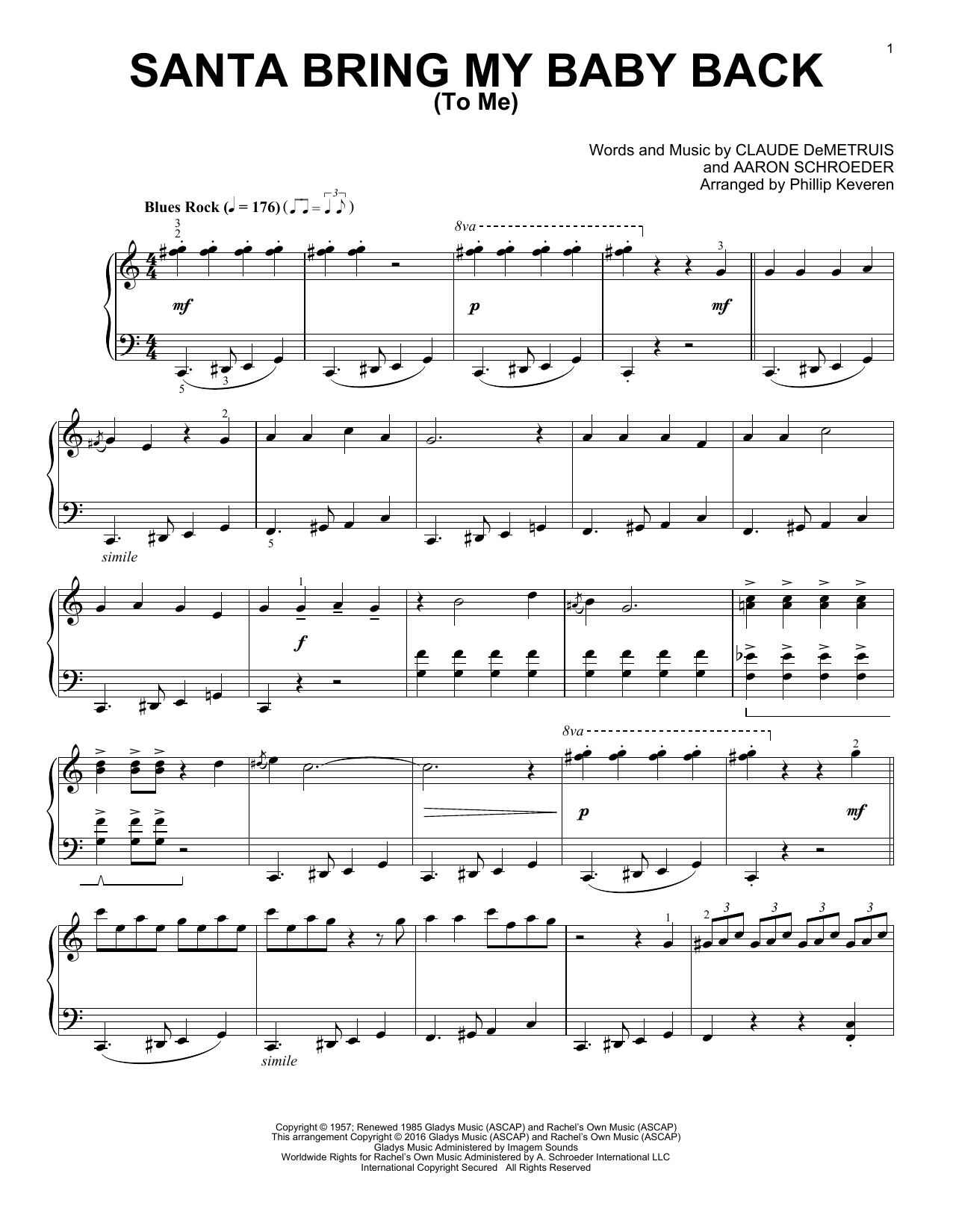 Download Phillip Keveren 'Santa, Bring My Baby Back (To Me)' Digital Sheet Music Notes & Chords and start playing in minutes