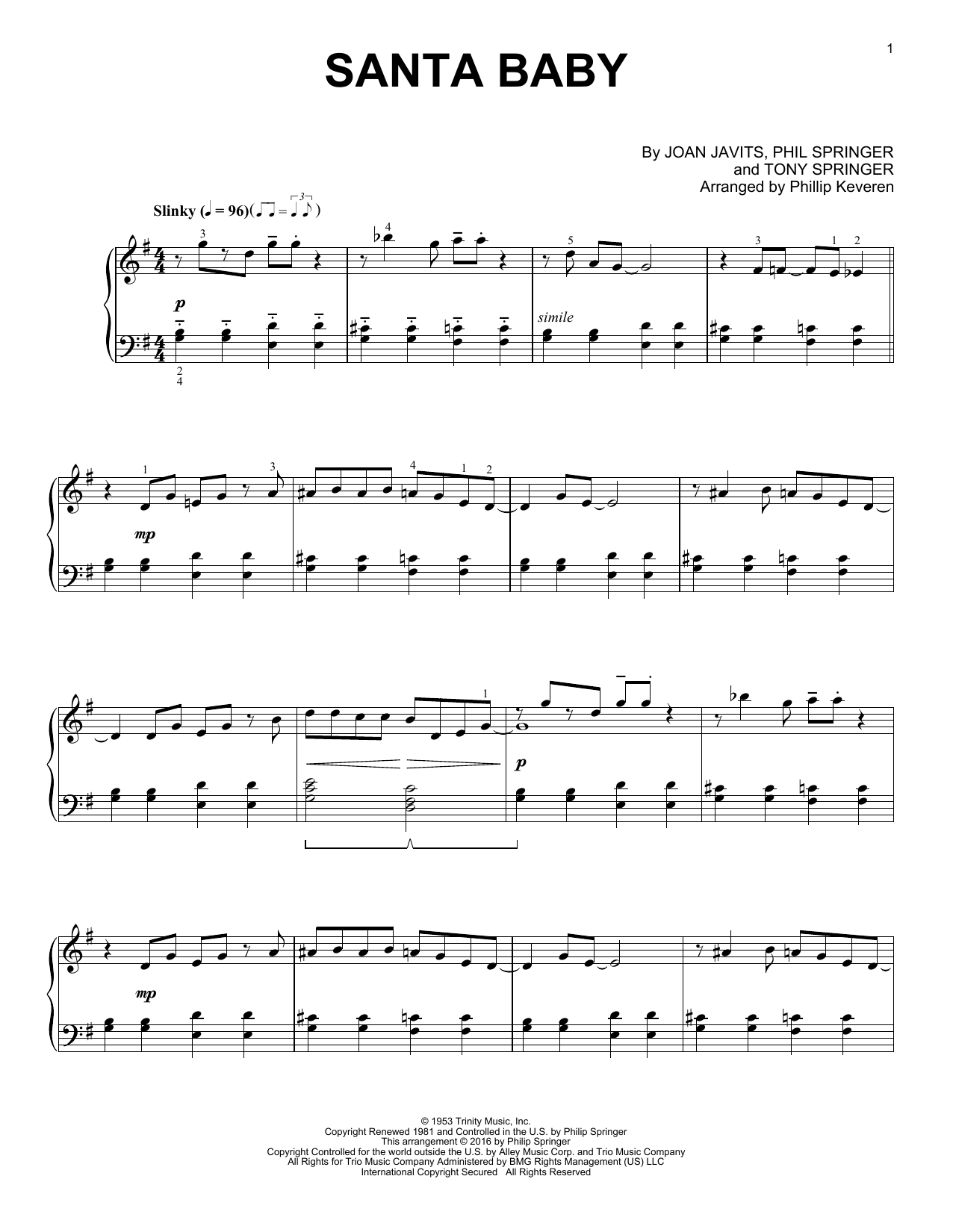 Download Phillip Keveren 'Santa Baby' Digital Sheet Music Notes & Chords and start playing in minutes