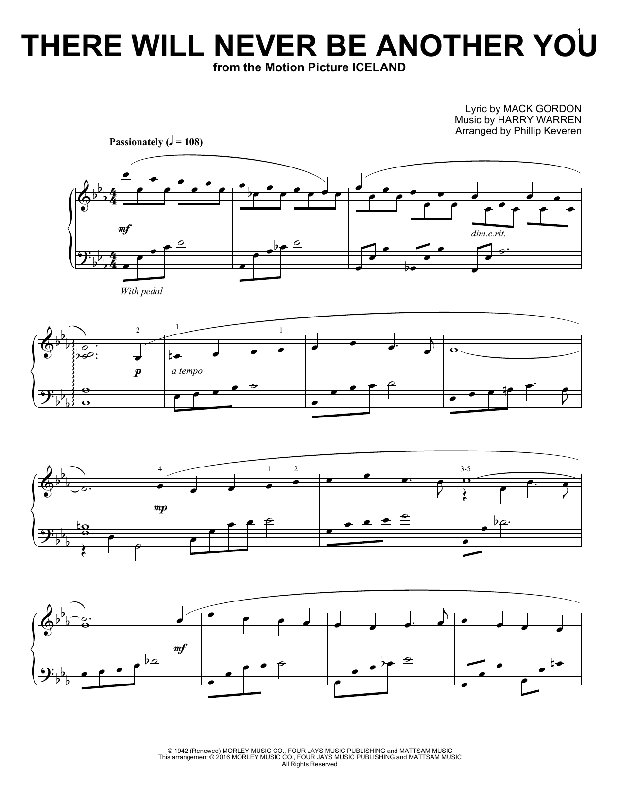 Download Phillip Keveren 'There Will Never Be Another You' Digital Sheet Music Notes & Chords and start playing in minutes
