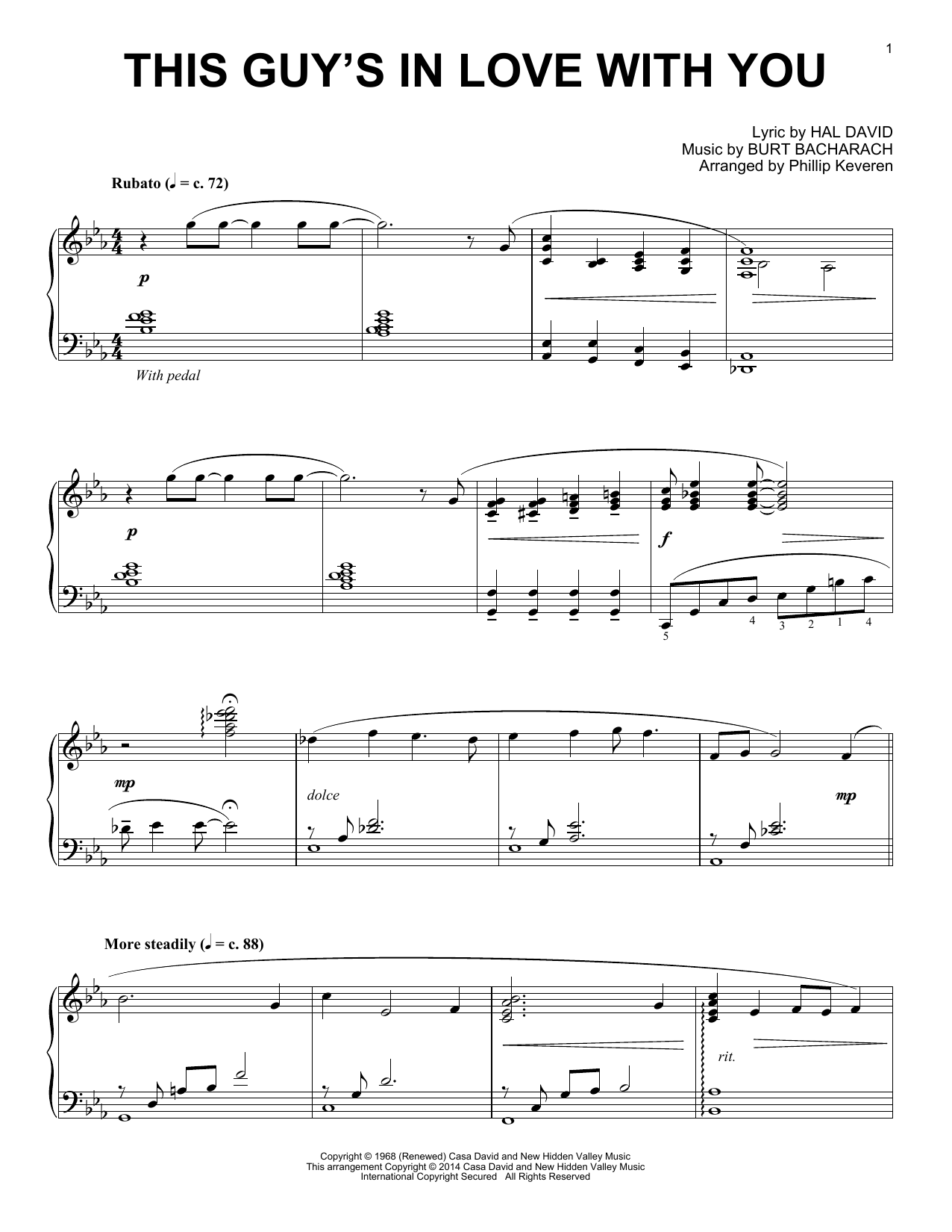 Download Phillip Keveren 'This Guy's In Love With You' Digital Sheet Music Notes & Chords and start playing in minutes