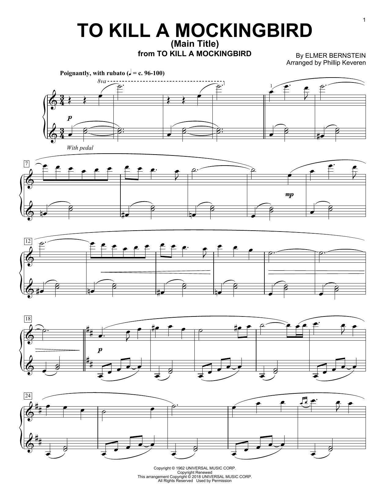 Download Phillip Keveren 'To Kill A Mockingbird - Main Title' Digital Sheet Music Notes & Chords and start playing in minutes