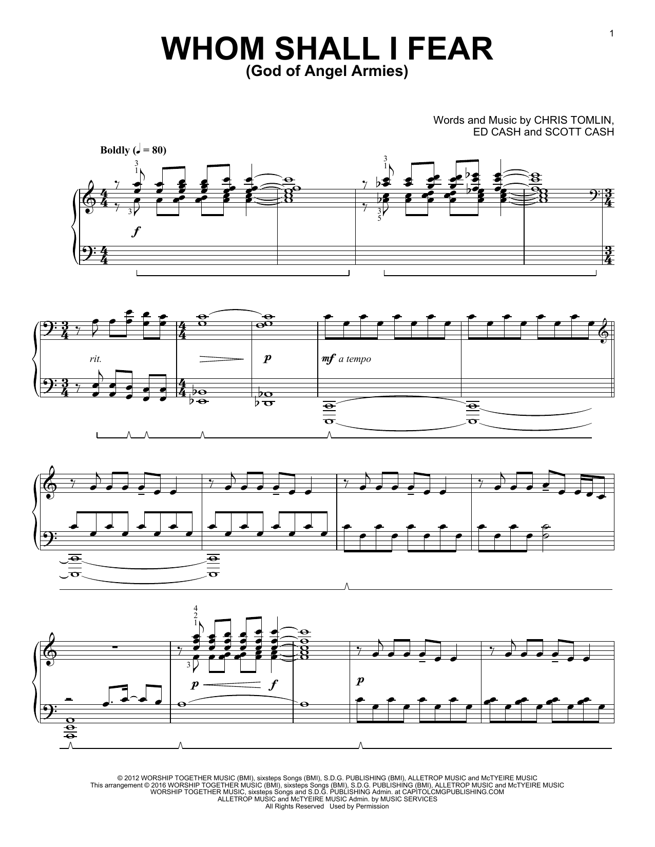Download Phillip Keveren 'Whom Shall I Fear (God Of Angel Armies)' Digital Sheet Music Notes & Chords and start playing in minutes