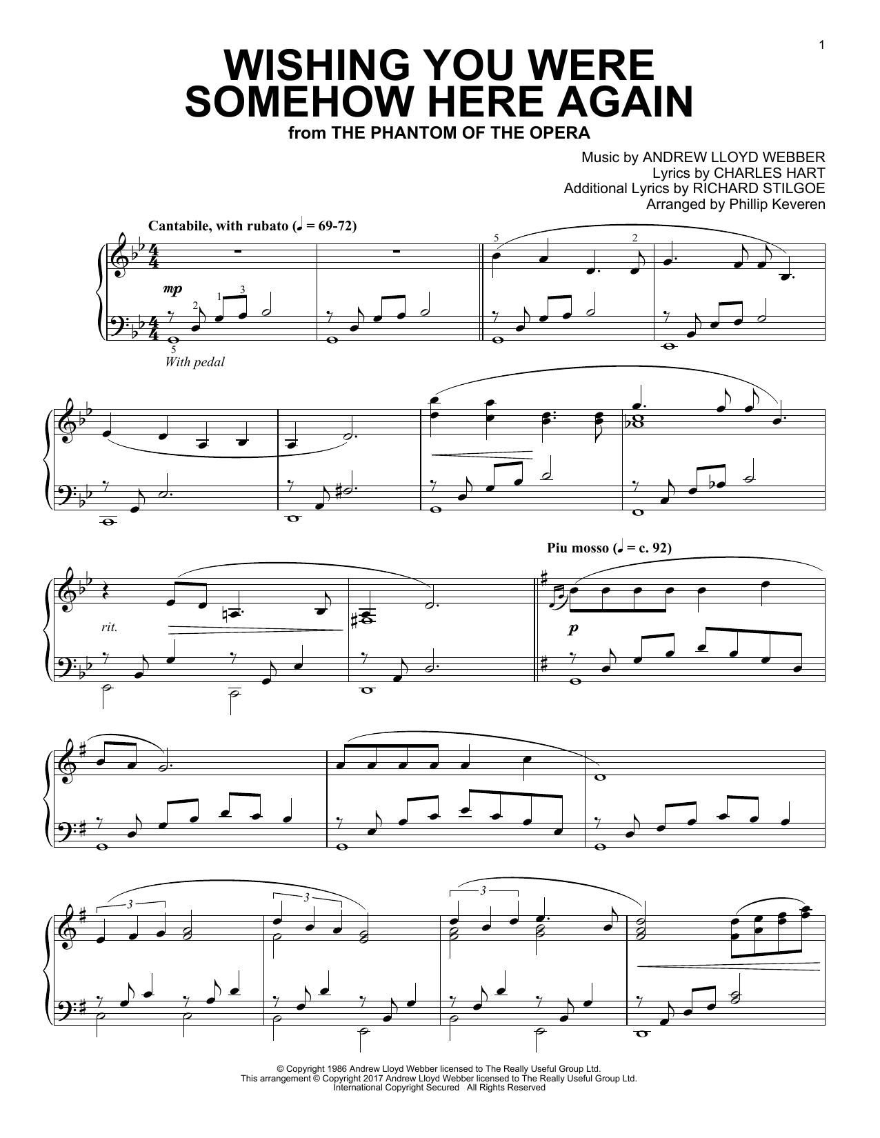 Download Phillip Keveren 'Wishing You Were Somehow Here Again' Digital Sheet Music Notes & Chords and start playing in minutes