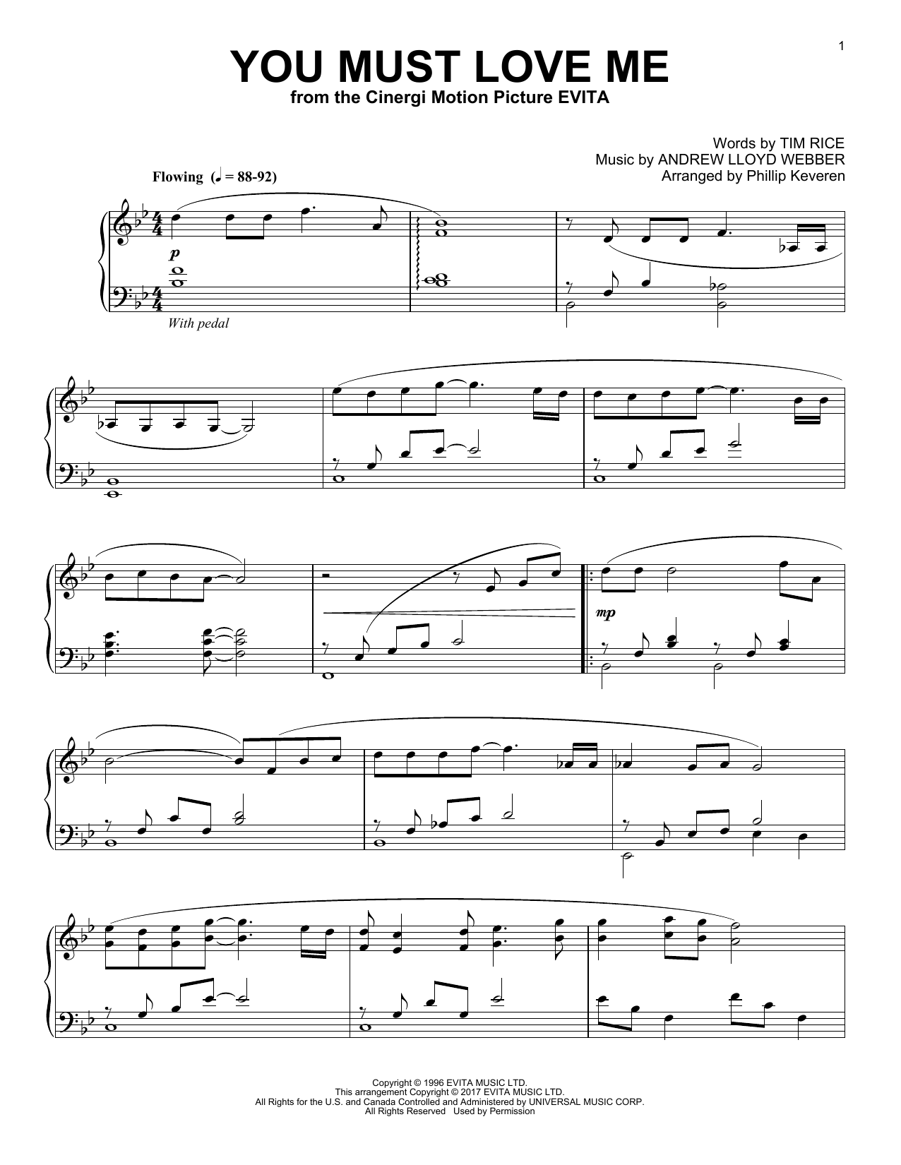 Download Phillip Keveren 'You Must Love Me' Digital Sheet Music Notes & Chords and start playing in minutes