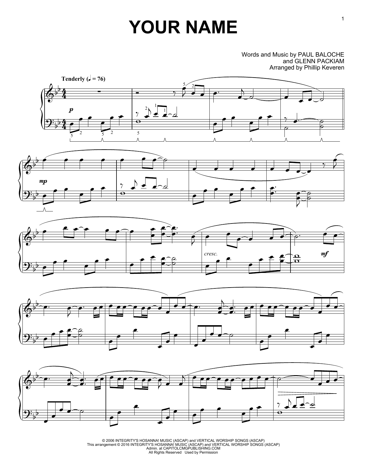 Download Phillip Keveren 'Your Name' Digital Sheet Music Notes & Chords and start playing in minutes