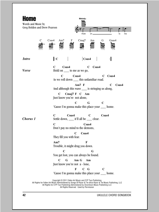 Phillip Phillips Home sheet music preview music notes and score for E-Z Play Today including 4 page(s)