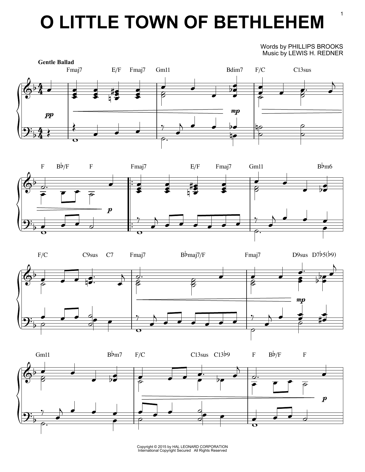 Download Lewis H. Redner 'O Little Town Of Bethlehem' Digital Sheet Music Notes & Chords and start playing in minutes