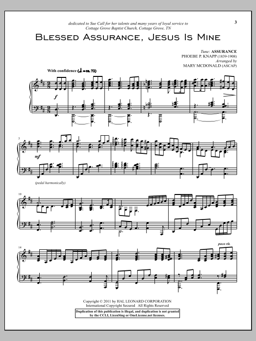 Phoebe P. Knapp Blessed Assurance sheet music preview music notes and score for Piano including 3 page(s)
