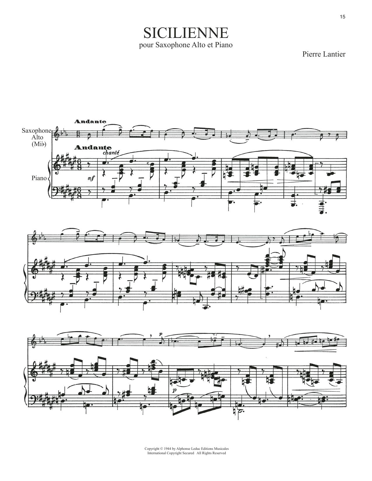 Download Pierre Lantier 'Sicilienne' Digital Sheet Music Notes & Chords and start playing in minutes
