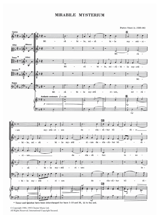 Download Pietro Vinci 'Mirabile Mysterium' Digital Sheet Music Notes & Chords and start playing in minutes