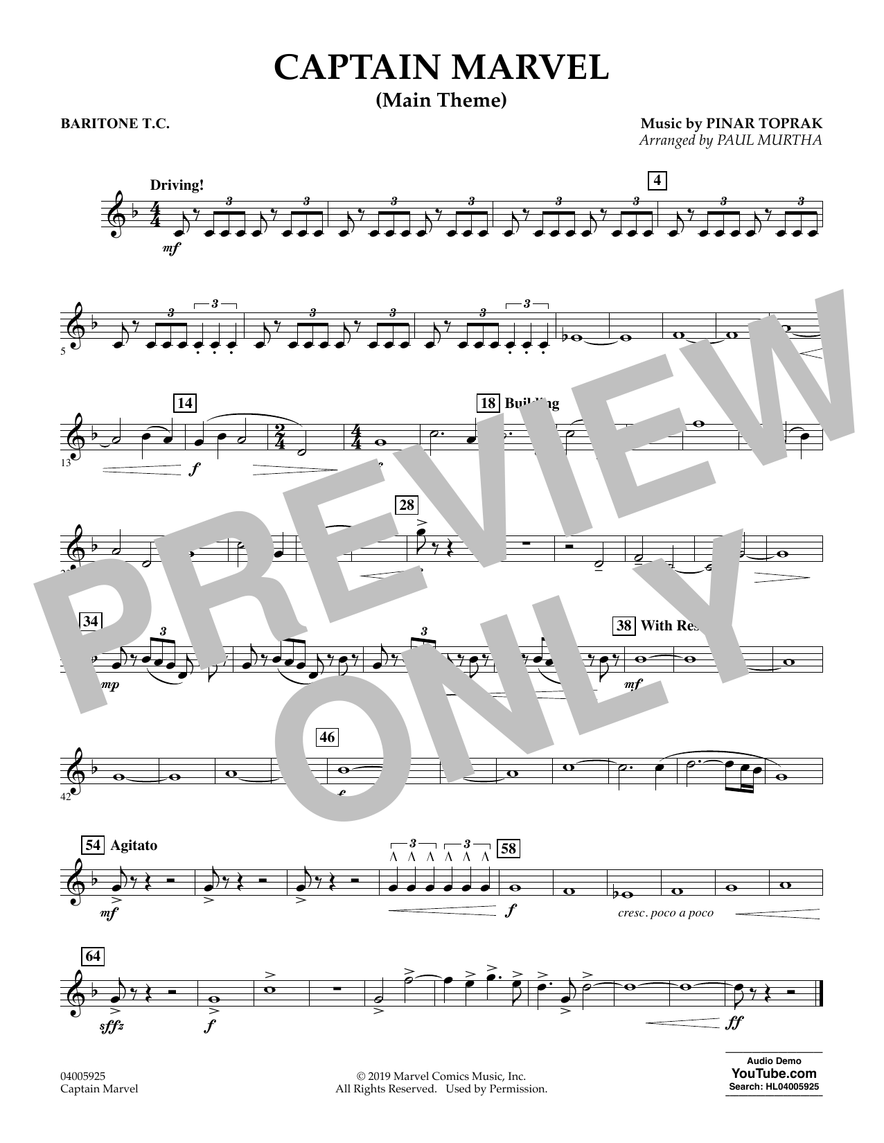 Pinar Toprak Captain Marvel (Main Theme) (arr. Paul Murtha) - Baritone T.C. sheet music preview music notes and score for Concert Band including 1 page(s)