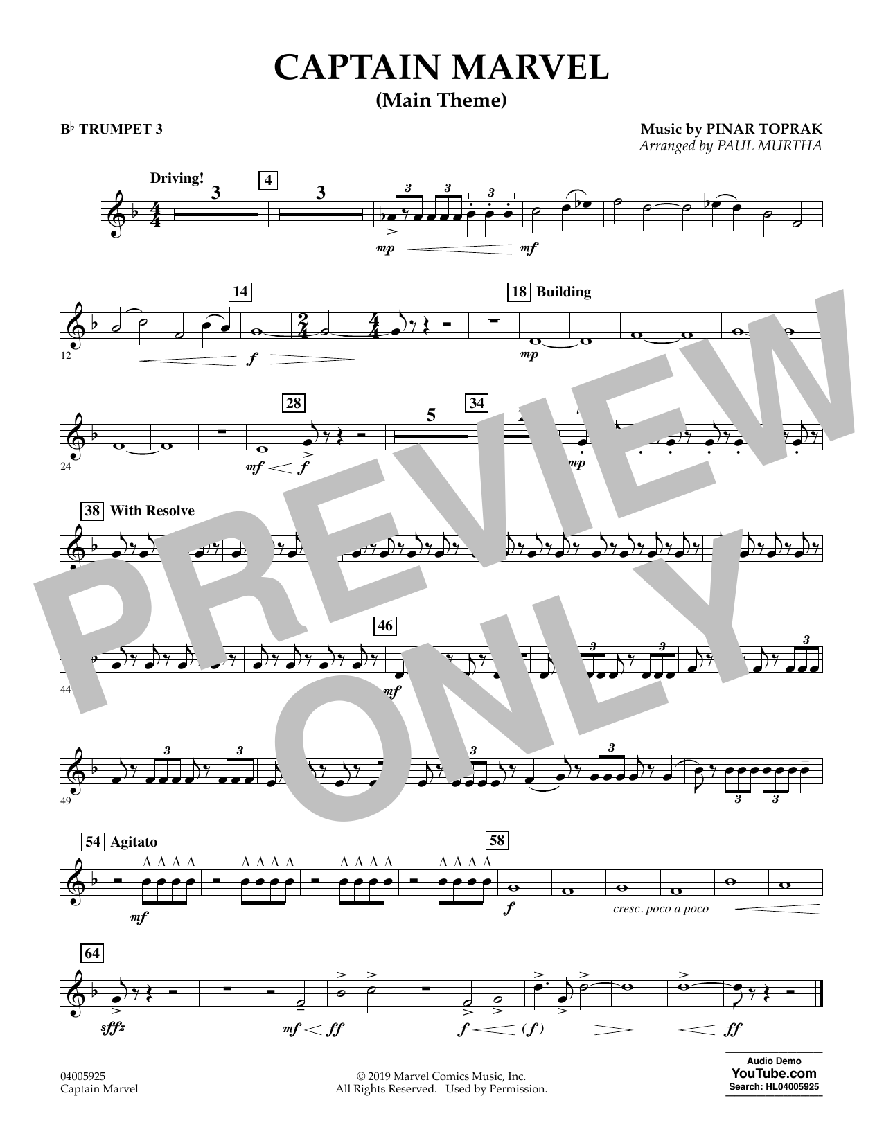 Pinar Toprak Captain Marvel (Main Theme) (arr. Paul Murtha) - Bb Trumpet 3 sheet music preview music notes and score for Concert Band including 1 page(s)