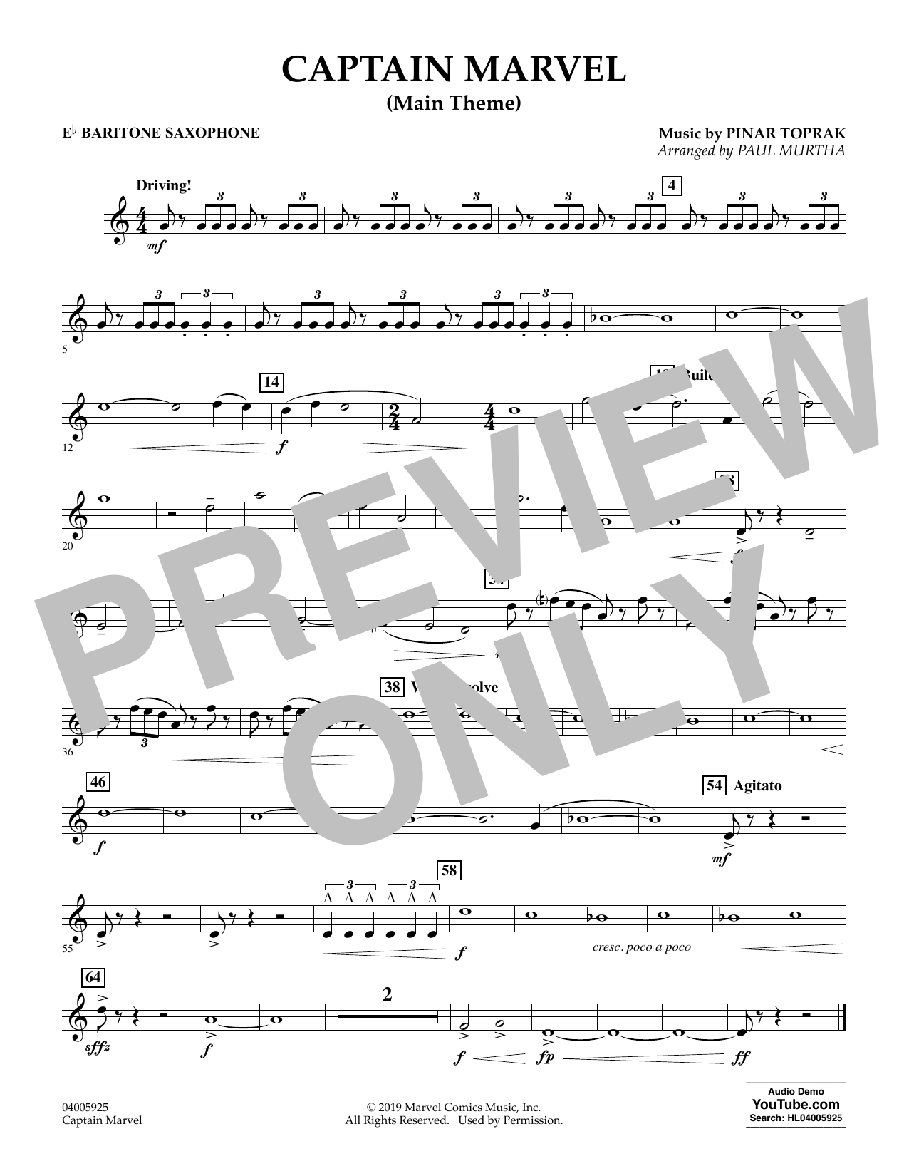 Pinar Toprak Captain Marvel (Main Theme) (arr. Paul Murtha) - Eb Baritone Saxophone sheet music preview music notes and score for Concert Band including 1 page(s)