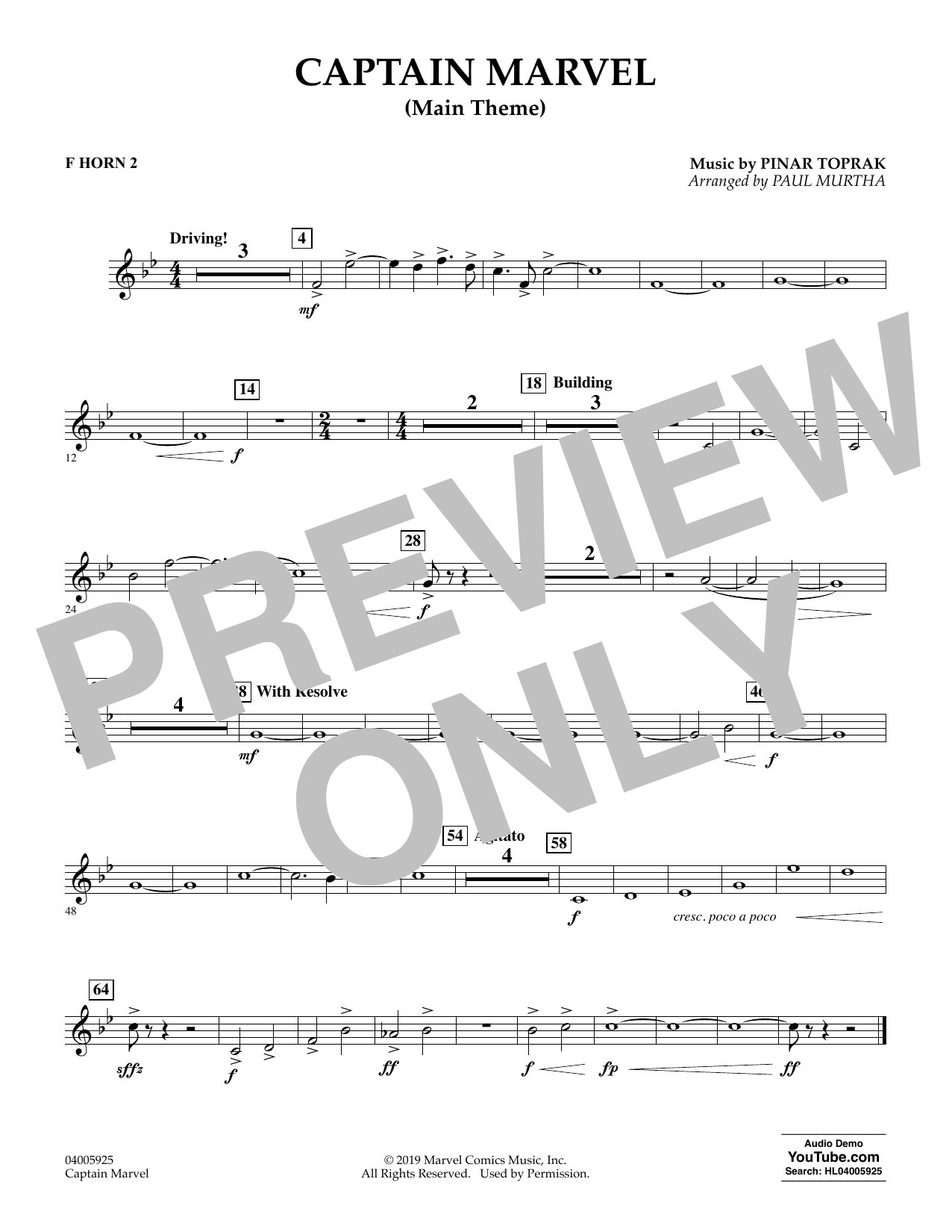 Pinar Toprak Captain Marvel (Main Theme) (arr. Paul Murtha) - F Horn 2 sheet music preview music notes and score for Concert Band including 1 page(s)
