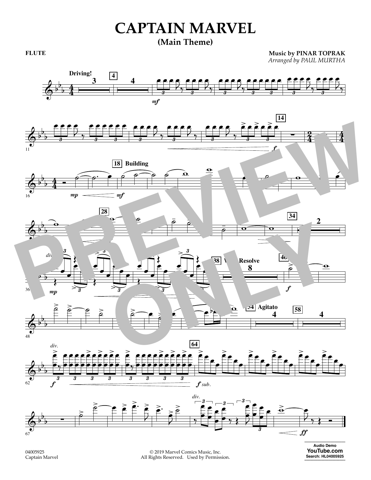 Pinar Toprak Captain Marvel (Main Theme) (arr. Paul Murtha) - Flute sheet music preview music notes and score for Concert Band including 1 page(s)