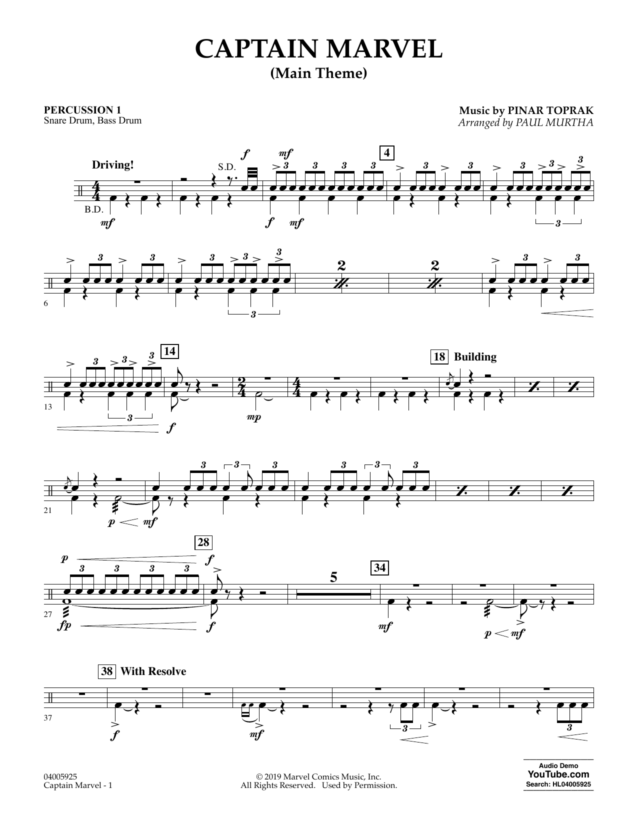 Pinar Toprak Captain Marvel (Main Theme) (arr. Paul Murtha) - Percussion 1 sheet music preview music notes and score for Concert Band including 2 page(s)