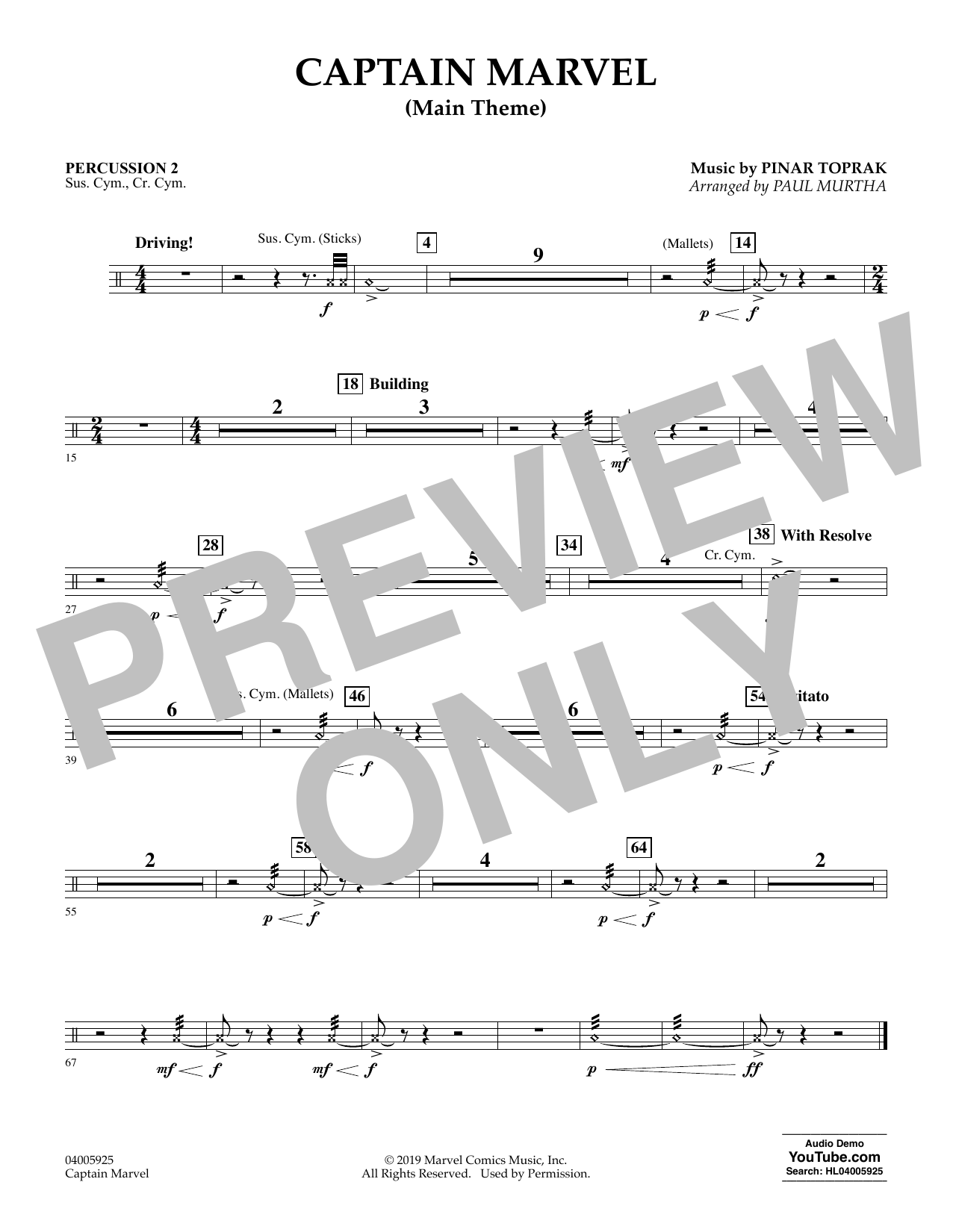 Pinar Toprak Captain Marvel (Main Theme) (arr. Paul Murtha) - Percussion 2 sheet music preview music notes and score for Concert Band including 1 page(s)