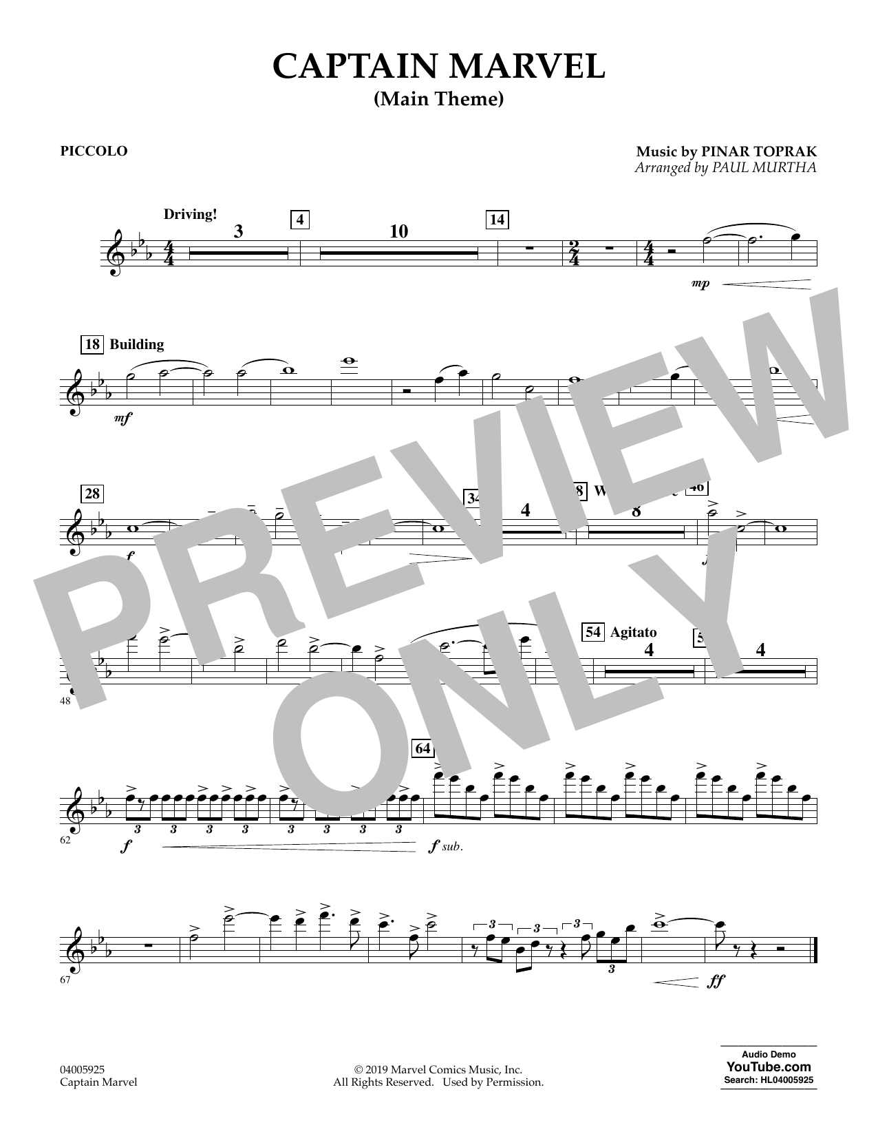Pinar Toprak Captain Marvel (Main Theme) (arr. Paul Murtha) - Piccolo sheet music preview music notes and score for Concert Band including 1 page(s)