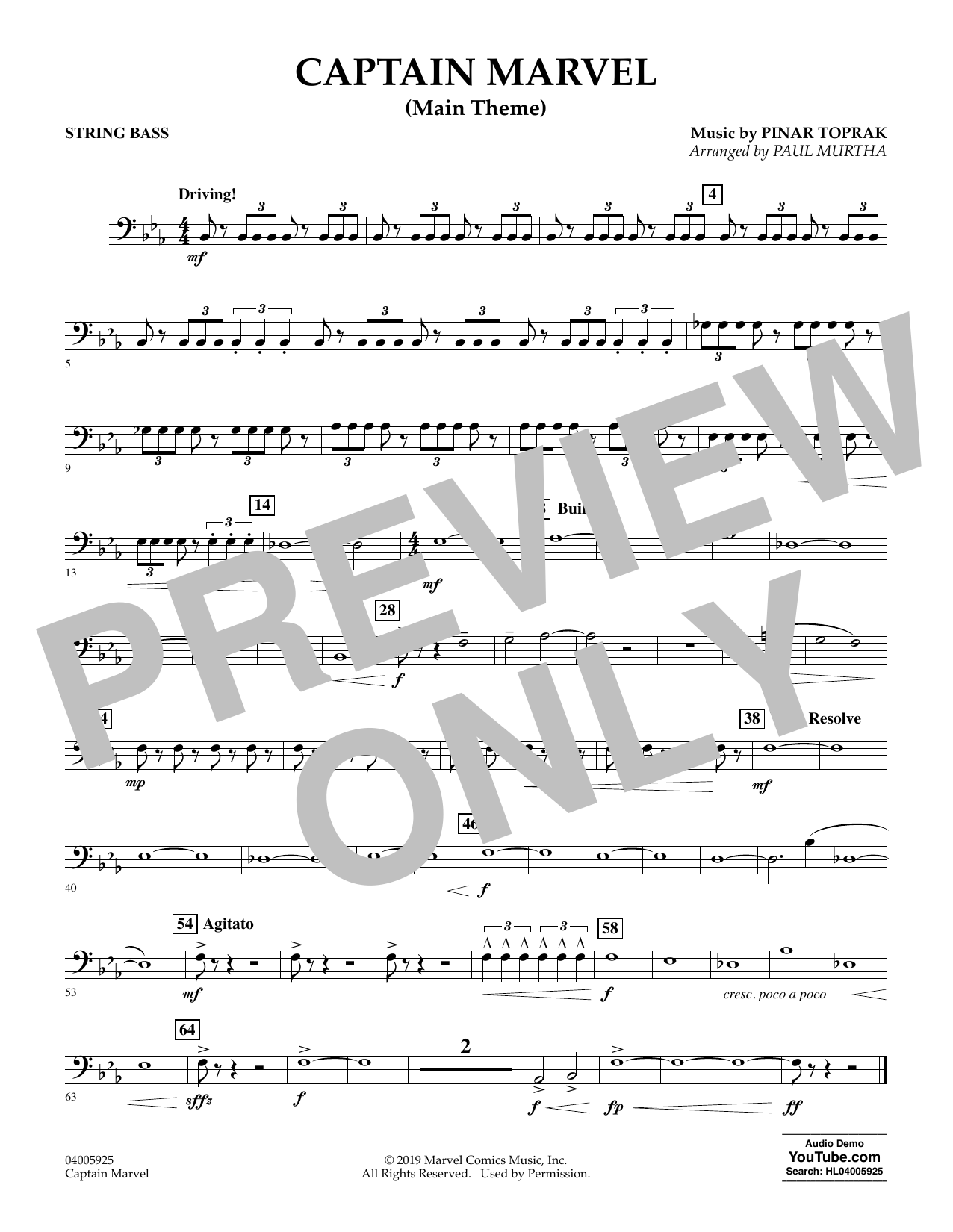 Pinar Toprak Captain Marvel (Main Theme) (arr. Paul Murtha) - String Bass sheet music preview music notes and score for Concert Band including 1 page(s)