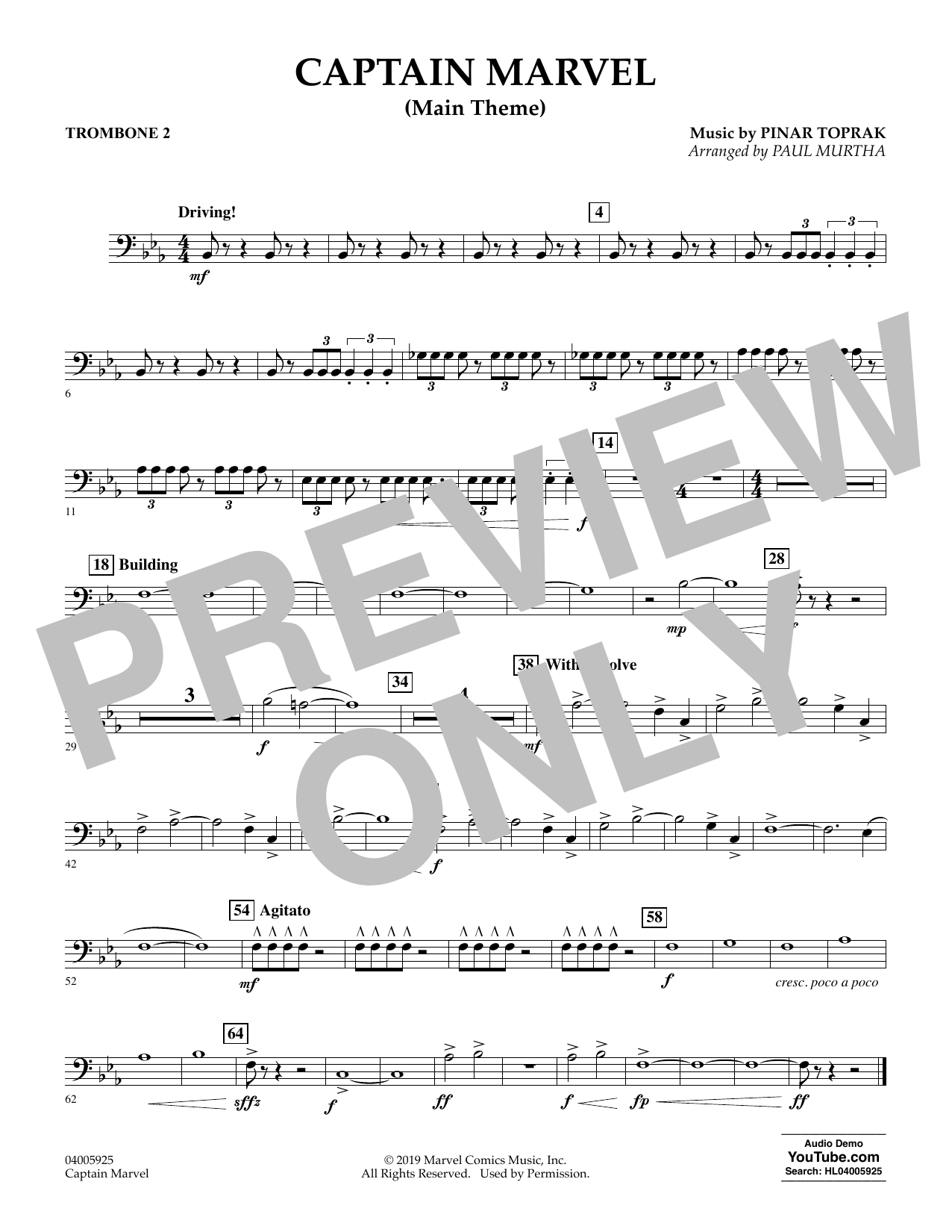 Pinar Toprak Captain Marvel (Main Theme) (arr. Paul Murtha) - Trombone 2 sheet music preview music notes and score for Concert Band including 1 page(s)