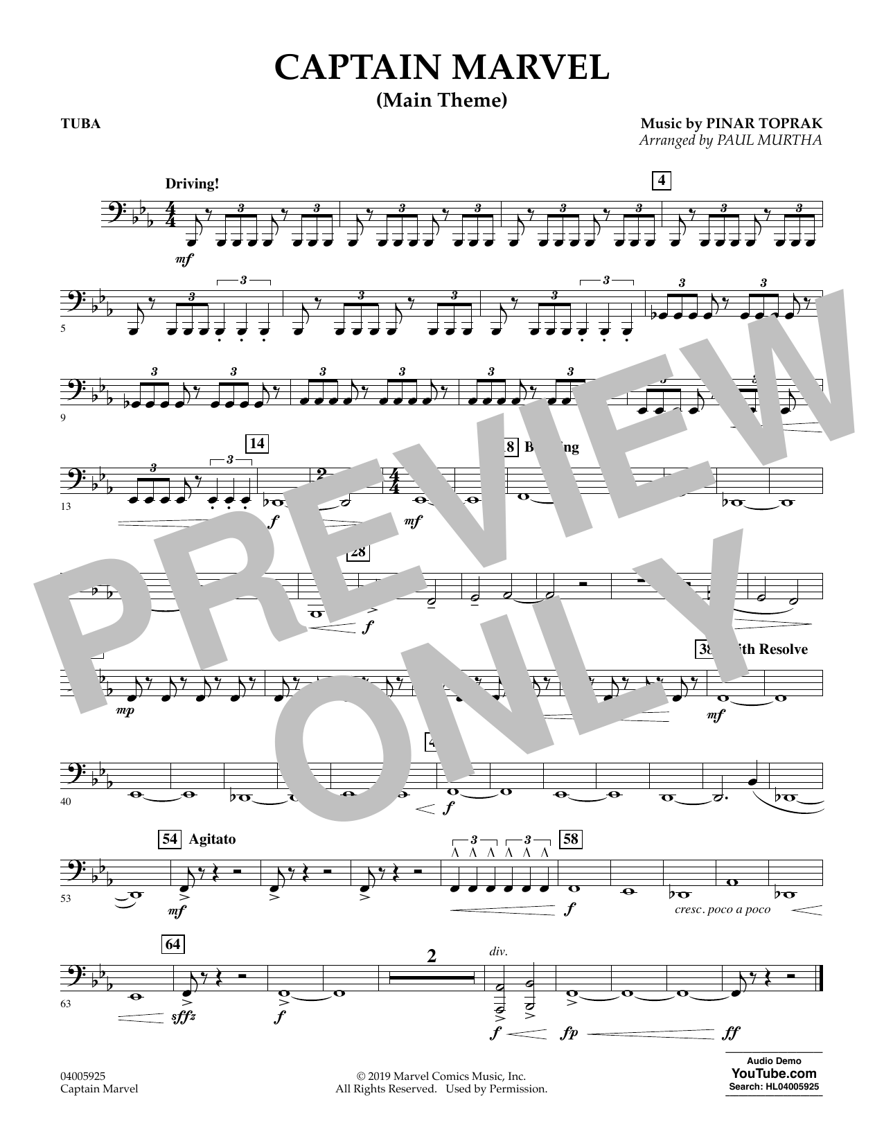 Pinar Toprak Captain Marvel (Main Theme) (arr. Paul Murtha) - Tuba sheet music preview music notes and score for Concert Band including 1 page(s)