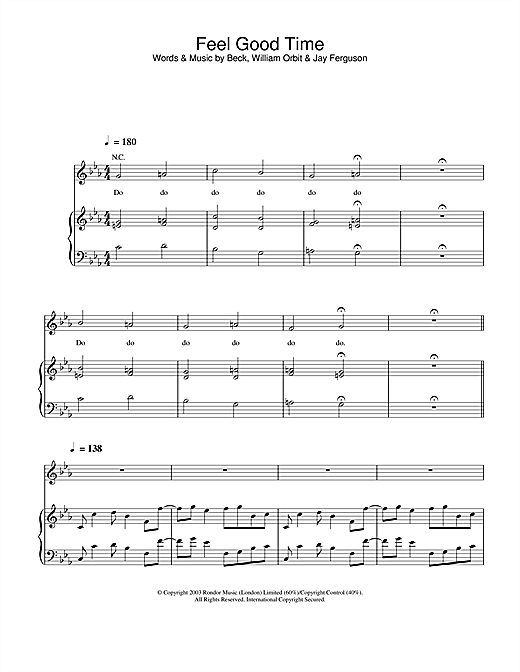 Pink Feel Good Time sheet music notes and chords