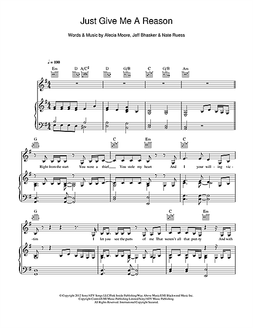 Download Pink 'Just Give Me A Reason (feat. Nate Ruess)' Digital Sheet Music Notes & Chords and start playing in minutes