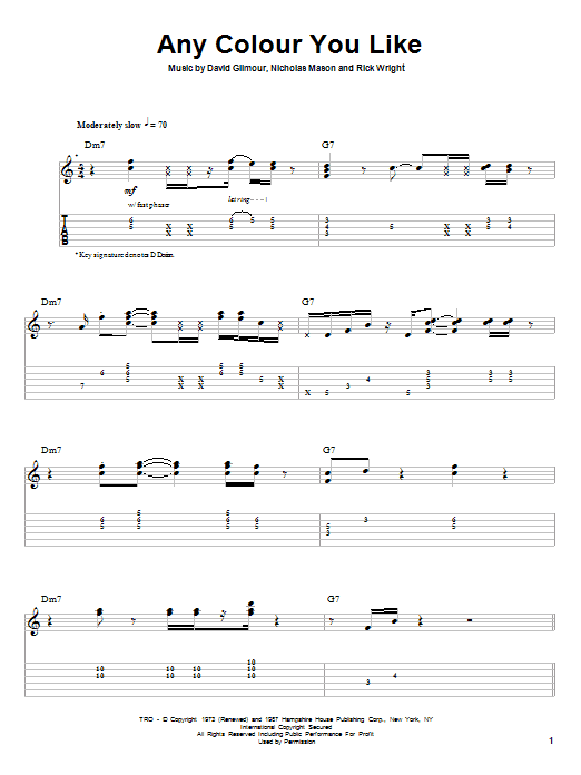 Pink Floyd Any Colour You Like sheet music preview music notes and score for Guitar Tab including 5 page(s)