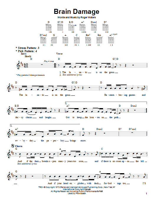 Pink Floyd Brain Damage sheet music preview music notes and score for Guitar Tab including 7 page(s)