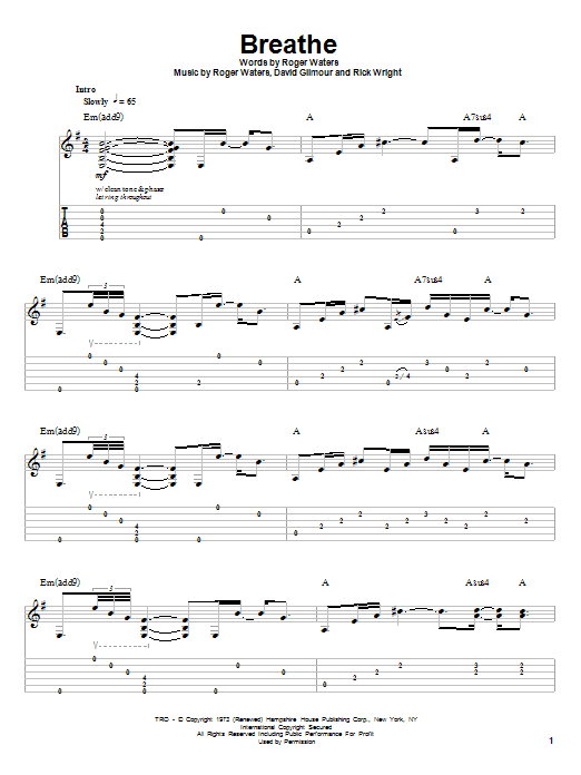 Pink Floyd Breathe sheet music preview music notes and score for Guitar Tab including 5 page(s)