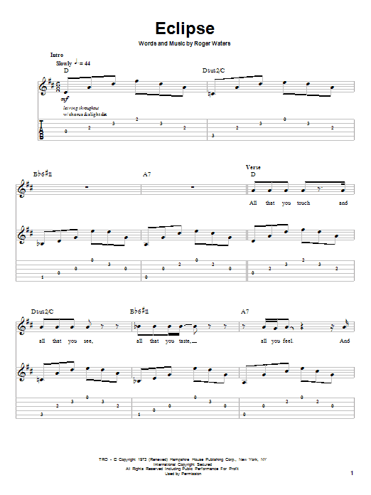 Pink Floyd Eclipse sheet music preview music notes and score for Guitar Tab including 3 page(s)