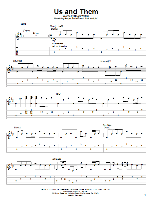 Pink Floyd Us And Them sheet music preview music notes and score for Guitar Tab including 10 page(s)