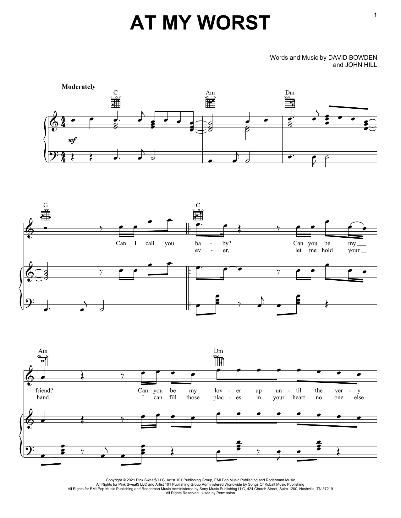 Pink Sweat$ At My Worst sheet music preview music notes and score for Piano, Vocal & Guitar (Right-Hand Melody) including 4 page(s)