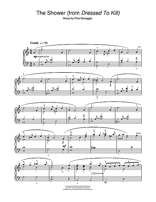 Download Pino Donaggio 'The Shower (from Dressed To Kill)' Digital Sheet Music Notes & Chords and start playing in minutes