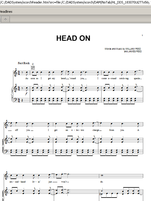 Pixies Head On sheet music preview music notes and score for Piano, Vocal & Guitar (Right-Hand Melody) including 6 page(s)