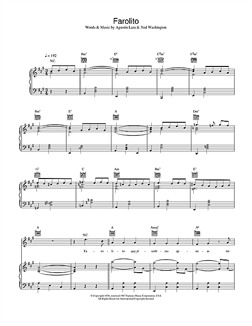Placido Domingo Farolito sheet music notes and chords