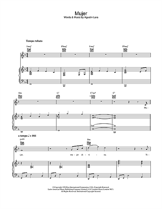 Placido Domingo Mujer sheet music notes and chords