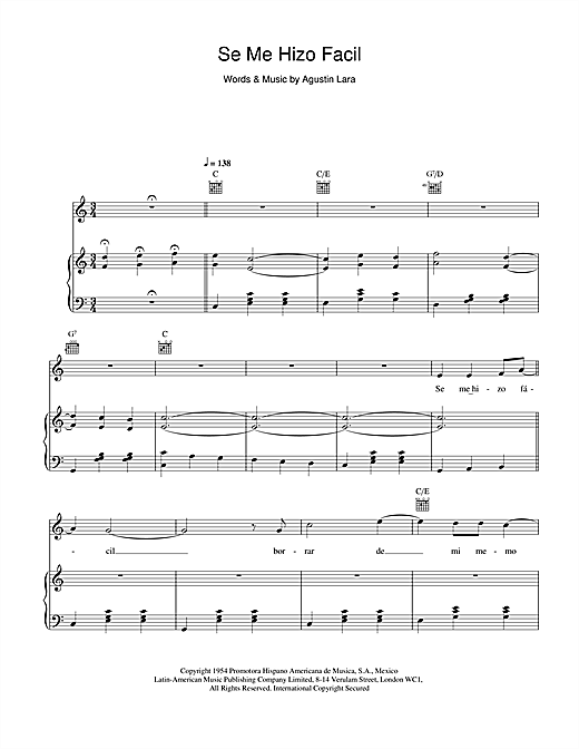Placido Domingo Se Me Hizo Facil sheet music notes and chords