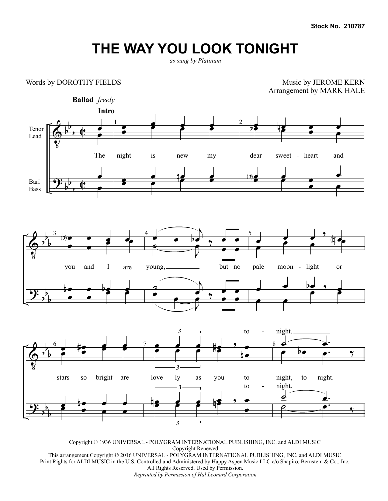 Platinum The Way You Look Tonight (arr. Mark Hale) sheet music preview music notes and score for TTBB Choir including 6 page(s)